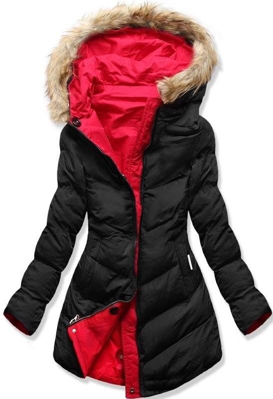 Női téli kabát kapucnival B-746 piros-fekete - Dzsekik - MODOVO 5f7001b825