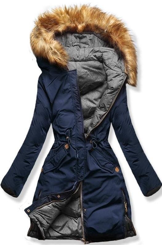 Hosszú női téli kabát kapucnival A5 kék-szürke - Dzsekik - MODOVO b99f967af6