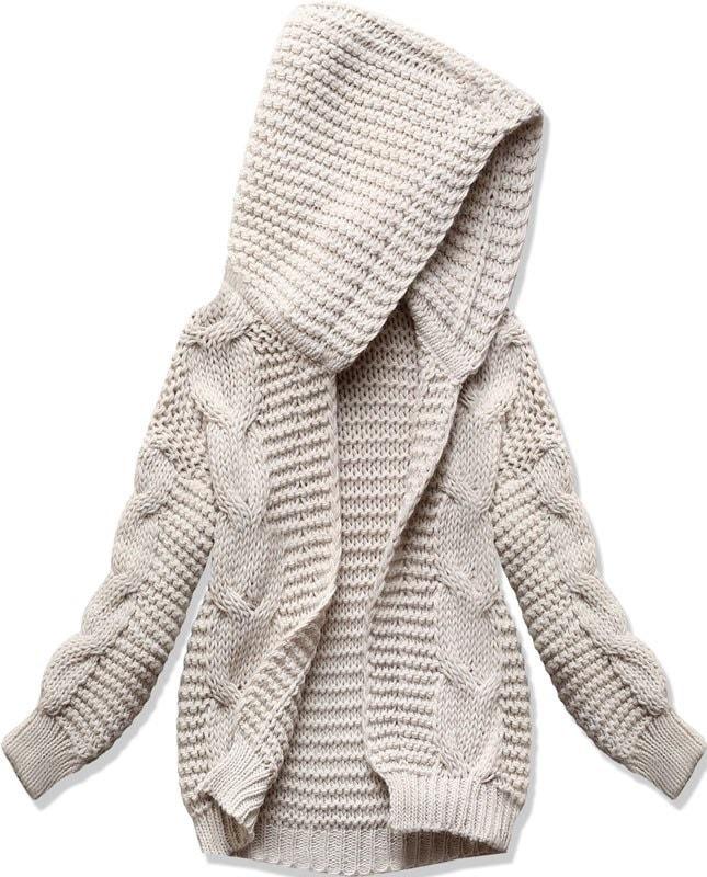 Dámský svetr s kapucí SWEK béžový - Svetry - MODOVO bd5df9469f
