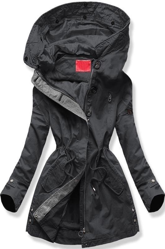 Női téli kabát kapucnival B-730 grafitszürke - Dzsekik - MODOVO 2b583a220e