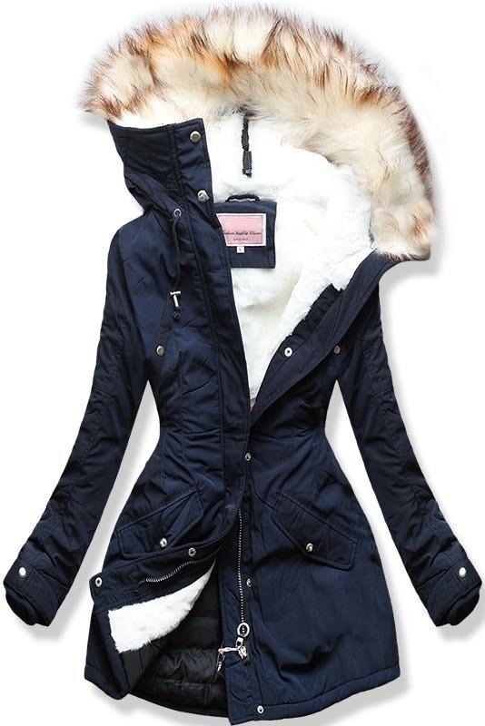Dámska zimná bunda s kapucňou W170 tmavo modrá - Bundy - MODOVO b8dce2bbd5c