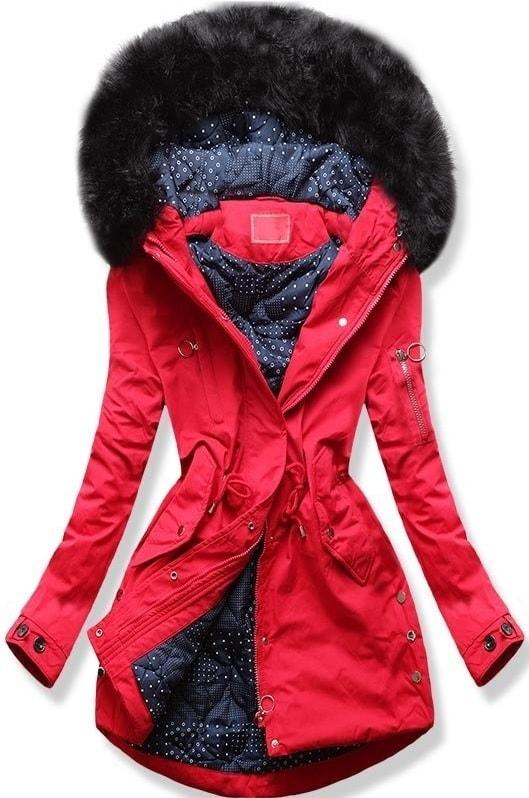 Dámska zimná bunda s kapucňou Q32 červená - Bundy - MODOVO 85236abdf00