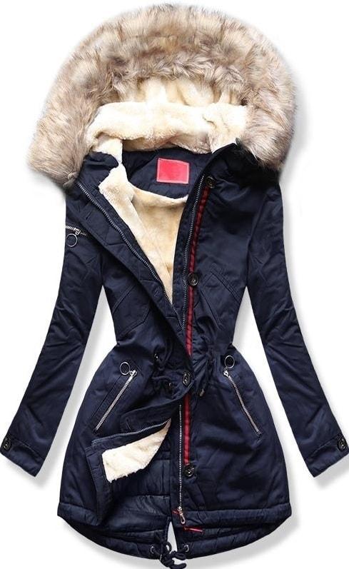 Dámska zimná bunda s kapucňou PO-307 tmavo modrá - Bundy - MODOVO 6a512463167