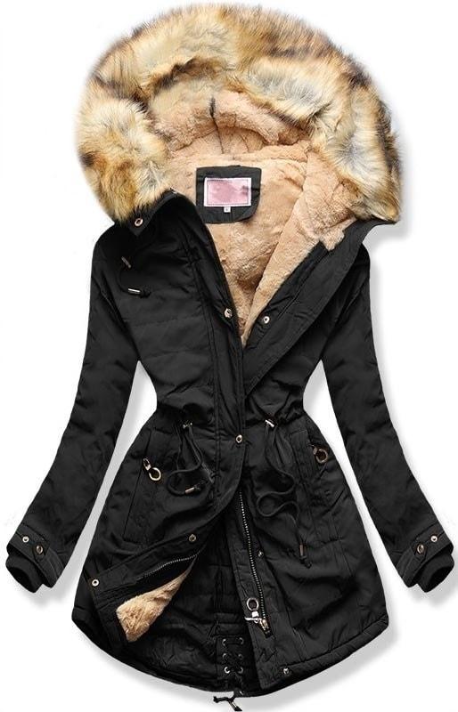 Női téli kabát kapucnival W165 fekete - Dzsekik - MODOVO d367f63f07
