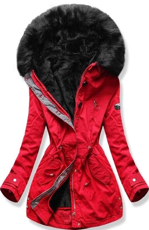 Dámska zimná bunda s kapucňou B-73 červená - Bundy - MODOVO e6c4aedf4bf