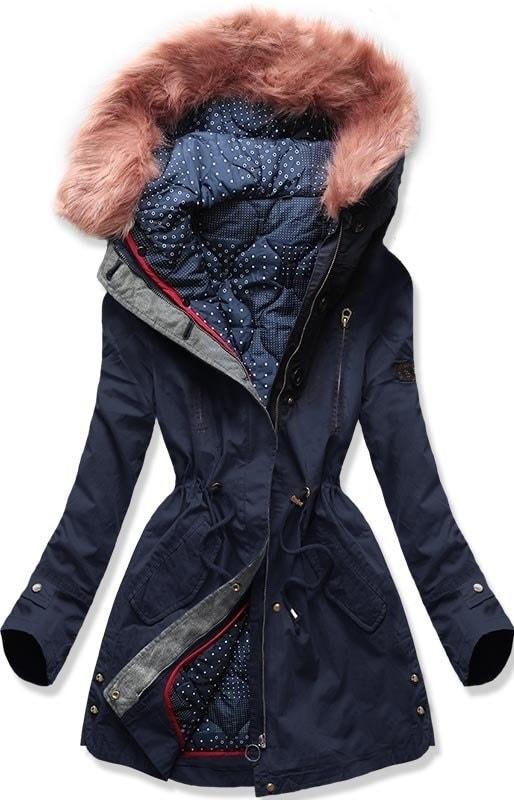 Női téli kabát kapucnival PO-730 sötétkék - Dzsekik - MODOVO e45594342a