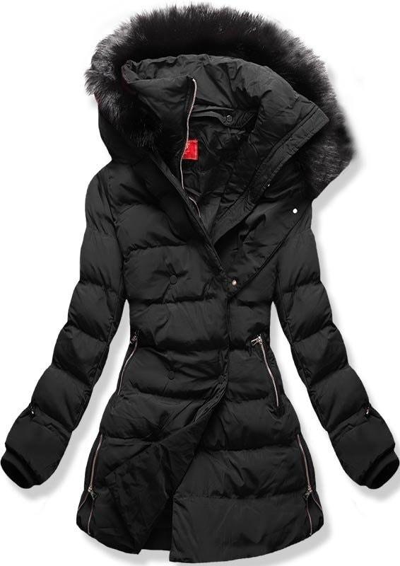 Dámská zimní bunda s kapucí A-248 černá - Bundy - MODOVO 59b8bf4afbb