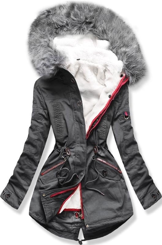 Női téli kabát kapucnival PO-303 grafitszürke - Dzsekik - MODOVO 987983122b