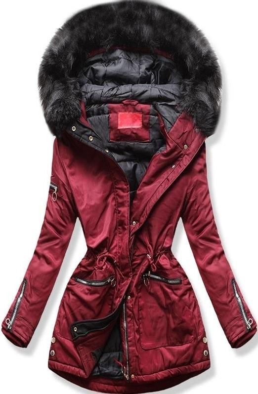 Dámska zimná bunda s kapucňou PO-305 bordová - Bundy - MODOVO 5b4e5b85502