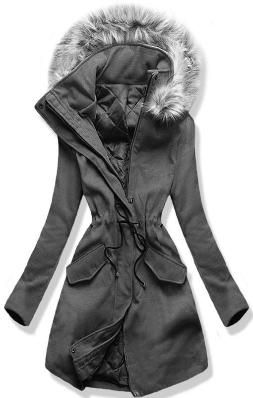 Hosszú női kabát kapucnival 22172 grafitszürke - Kabátok - MODOVO 613c8c9164