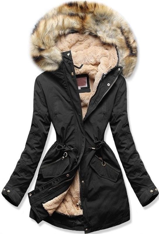 Dámska zimná bunda s kapucňou W164 čierna - Bundy - MODOVO 3754d672177