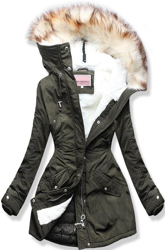 Női téli kabát kapucnival W170 khaki - Dzsekik - MODOVO deede4d4fb