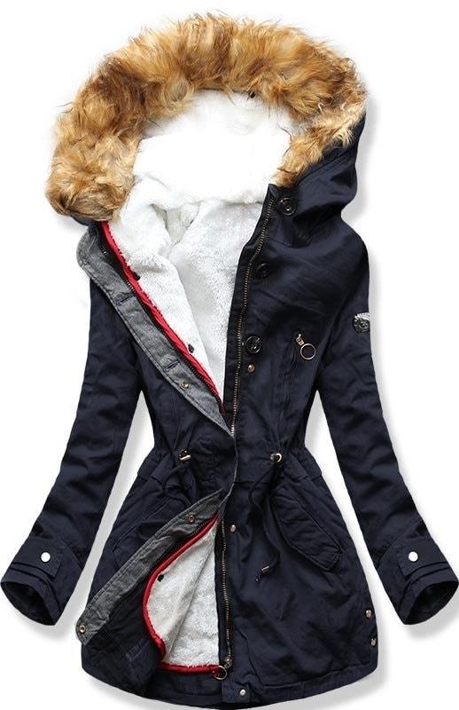 Dámska zimná bunda s kapucňou B-73 tmavo modrá - Bundy - MODOVO 827eaebd877