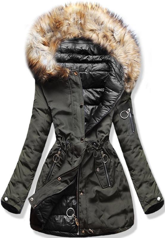 Dámska zimná obojstranná bunda s kapucňou W-707 khaki-čierna - Bundy ... b41335c2e60