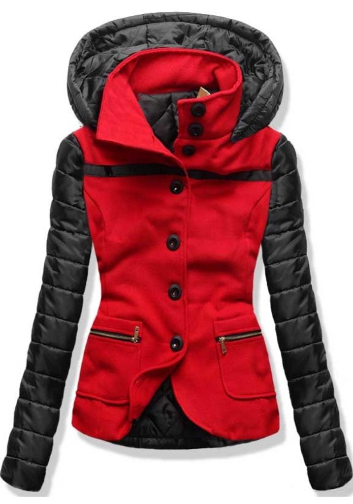 15b346e054 Krátky dámsky kabát s kapucňou 2102 červený - Kabáty - MODOVO