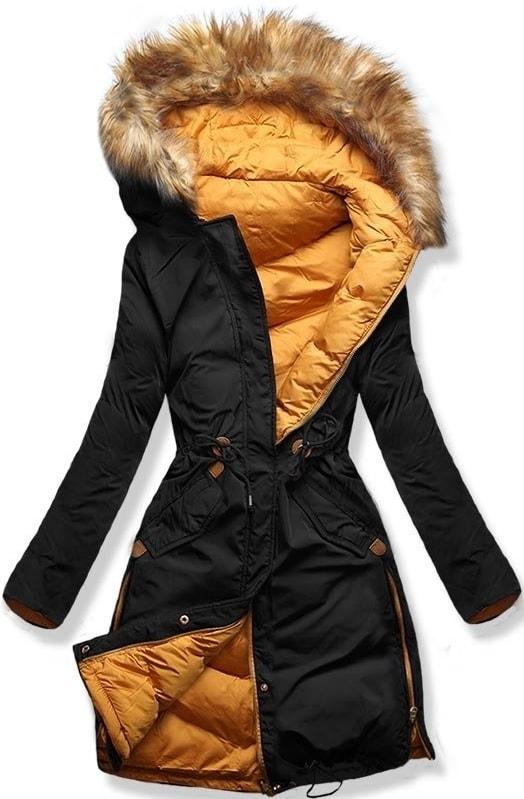 Hosszú női téli kabát A5 fekete-narancssárga - Dzsekik - MODOVO ca047fbf54