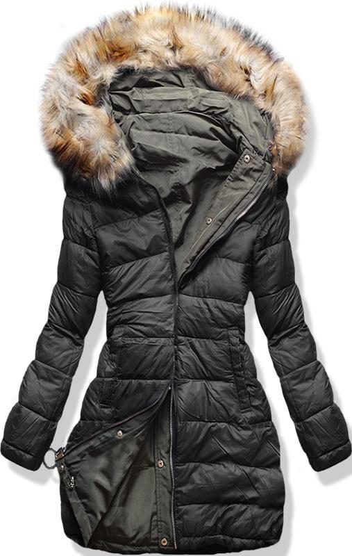 Dámska zimná obojstranná bunda s kapucňou W-707 khaki-čierna - Bundy ... 4d42839d2da