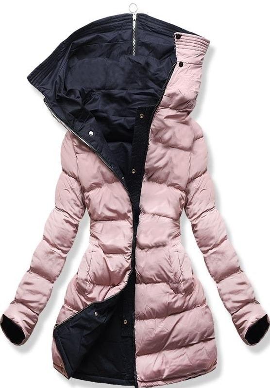 Női téli kabát kapucnival B-745 kék-púderrózsaszín - Dzsekik - MODOVO e64a5e1581
