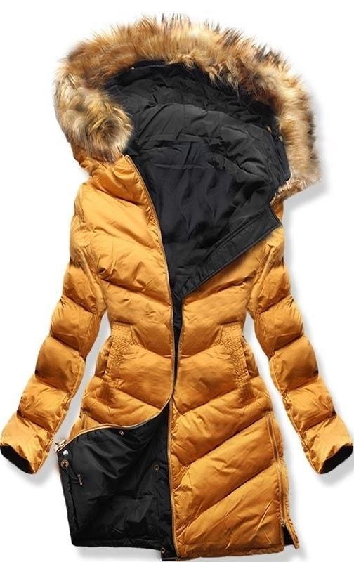 Hosszú női téli kabát A5 fekete-narancssárga - Dzsekik - MODOVO 306272e838
