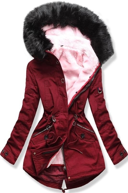 Női téli kabát kapucnival PO-303 bordó - Dzsekik - MODOVO 42eabc6b7a