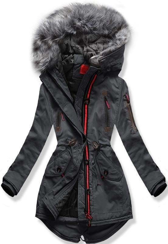 Dámska zimná bunda s kapucňou PO-301 grafitová - Bundy - MODOVO 2b5f55b40d1