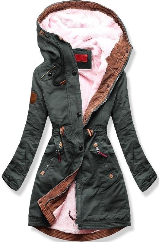 Dámska zimná bunda s kapucňou A931 khaki - Bundy - MODOVO 5245c1dd5cc