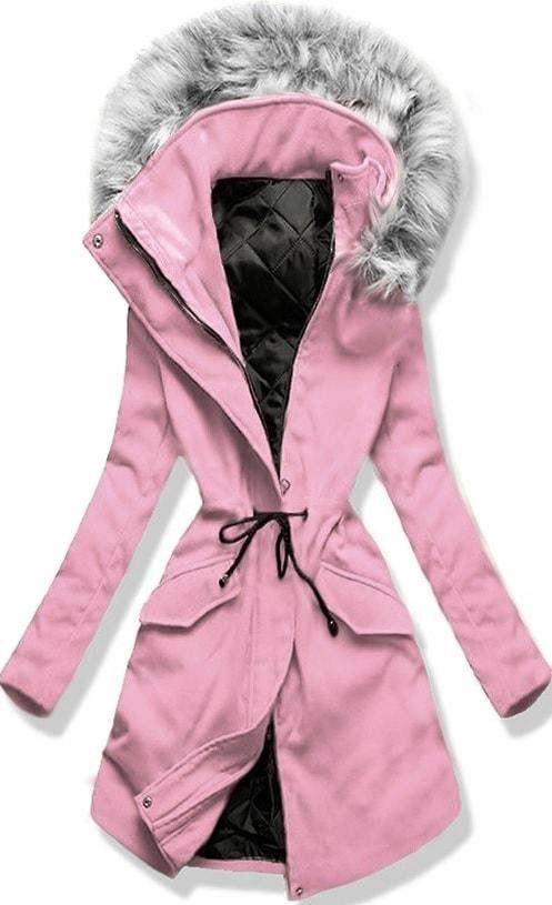 Hosszú női kabát kapucnival 22172 púderrózsaszín - Kabátok - MODOVO 98f3dfbf49