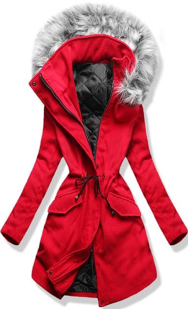 Hosszú női kabát kapucnival 22172 piros - Kabátok - MODOVO d21371456e