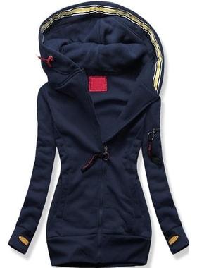 Dlouhá dámská mikina s kapucí D552 tmavě modrá 6e89f652e5
