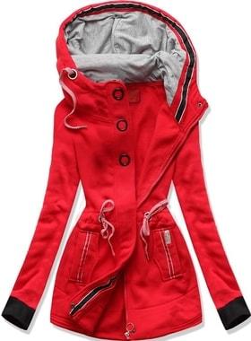 Dlouhá dámská mikina s kapucí D543 červená a34d111b35
