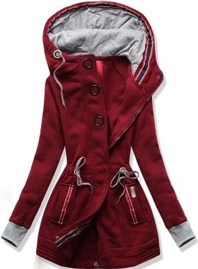 Dlouhá dámská mikina s kapucí D543 bordó 150b5c6b3e