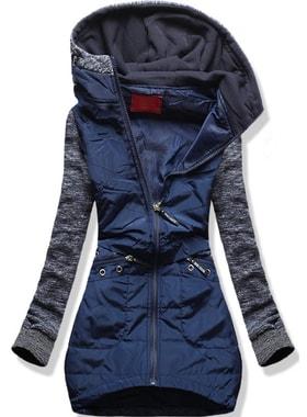 Dlouhá dámská mikina s kapucí D357 tmavě modrá 546672efa2