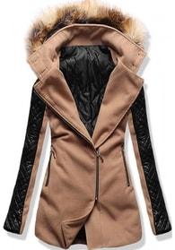 MODOVO Dlouhý dámský kabát s kapucí 6710 hnědý