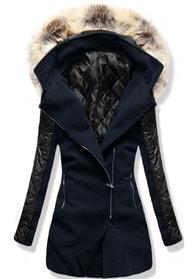 MODOVO Dlouhý dámský kabát s kapucí 6710 tmavě modrý