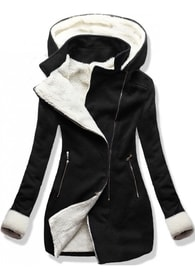 839d91de2a MODOVO Dlhý dámsky kabát s kapucňou 8940 čierny