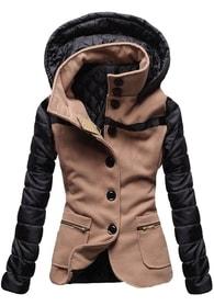 7508a33d71f1 MODOVO Krátky dámsky kabát s kapucňou 2102 hnedý - M