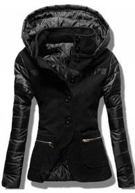 914b3d088e MODOVO Krátky dámsky kabát s kapucňou 2102 čierny