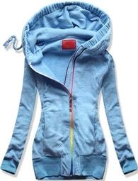MODOVO Dlouhá dámská mikina s kapucí D391 světle modrá