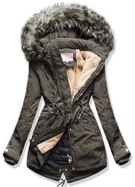 MODOVO Dámska zimná bunda s kapucňou W120 hnedá