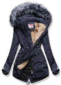 MODOVO Dámska zimná bunda s kapucňou W120 modrá a12b4195330