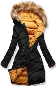 MODOVO Dámska zimná bunda s kapucňou A5 čierno-oranžová - S