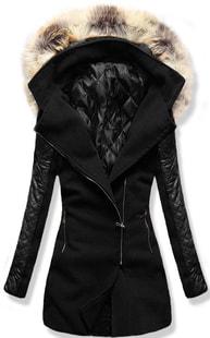 MODOVO Dlouhý dámský kabát s kapucí 6710 černý