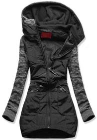MODOVO Dlouhá dámská mikina s kapucí D357 černá