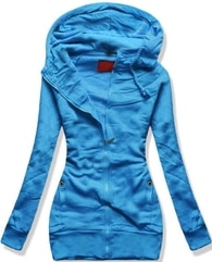 MODOVO Dlouhá dámská mikina s kapucí D422 modrá - M
