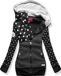 MODOVO Dlouhá dámská mikina s kapucí D328 černá - XL