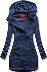 MODOVO Dlouhá dámská mikina s kapucí D329 tmavě modrá 41428f9e0e