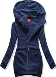 MODOVO Dlouhá dámská mikina s kapucí D383 tmavě modrá - S