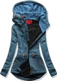 MODOVO Dámská mikina s kapucí D429 jeansová
