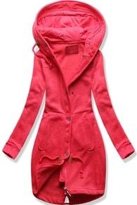 Dlouhá dámská mikina s kapucí D331 růžová