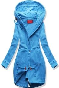 Dlouhá dámská mikina s kapucí D331 modrá